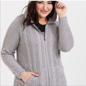 NWT Torrid Cable Knit Zip Up Sweater Gray Size 5XL